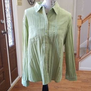 Chicos lime green button down shirt